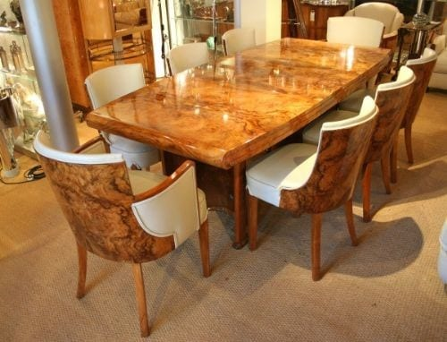 deco dining table and matching dining chairs from the 1930s the table