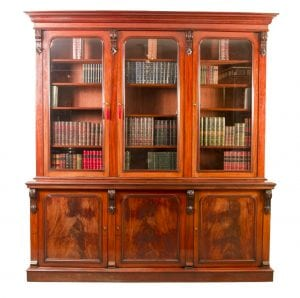 06028-Antique-Victorian-Flame-Mahogany-Bookcase-c.1860-1