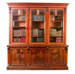 06028-Antique-Victorian-Flame-Mahogany-Bookcase-c.1860-1
