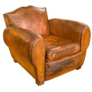 An Antique Club Chair From The 1930s. Note That As A Later Example It Is  Much More Curvaceous Than The Other Example Shown.